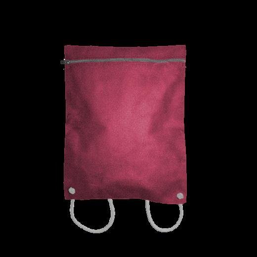 bordowy plecak koperta z kodury na sznurkach