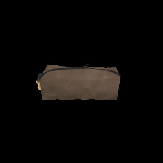 brązowy piórnik z washable paper na zamek