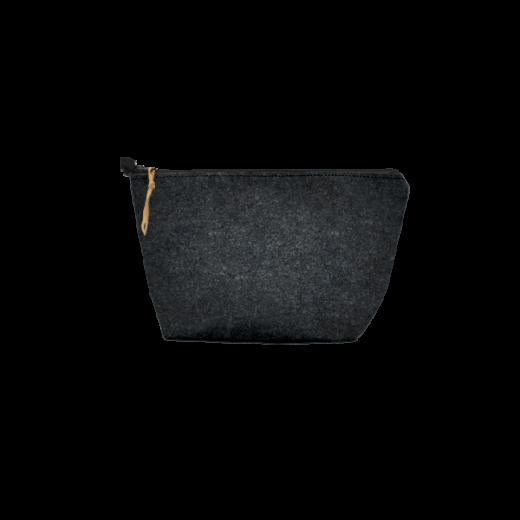 czarna saszetka z filcu na zamek