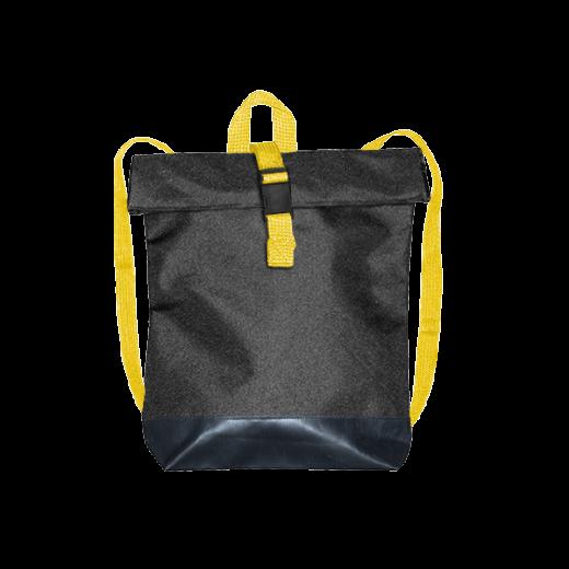 czarny plecak street z żółtymi pasami