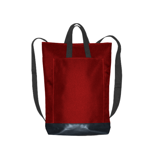 czerwony plecak city z kieszenią i czarnymi pasami