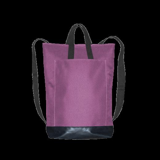 fioletowy plecak city z kieszenią i czarnymi pasami