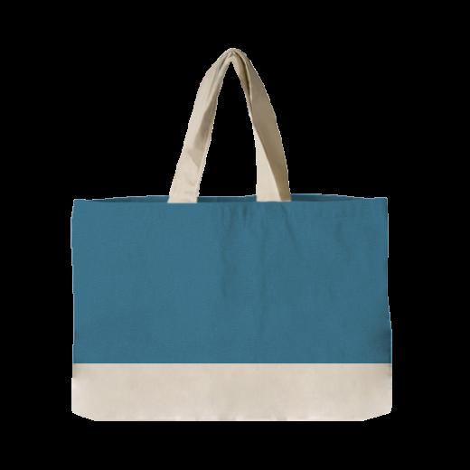 niebieska torba pozioma z rączkami i dnem ecri