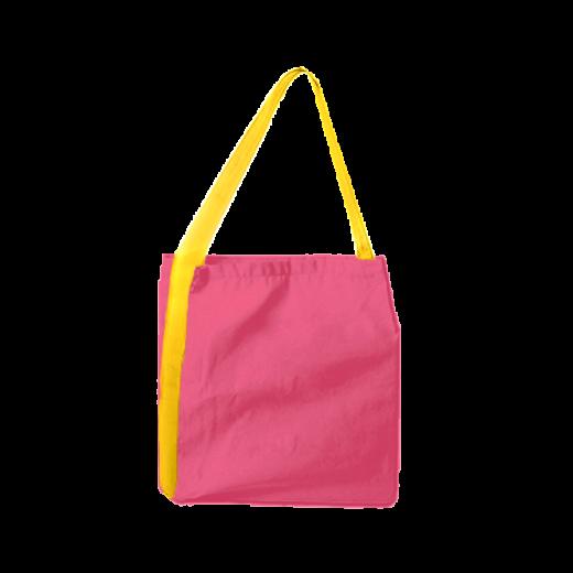 różowa torba z taśmą żółtą