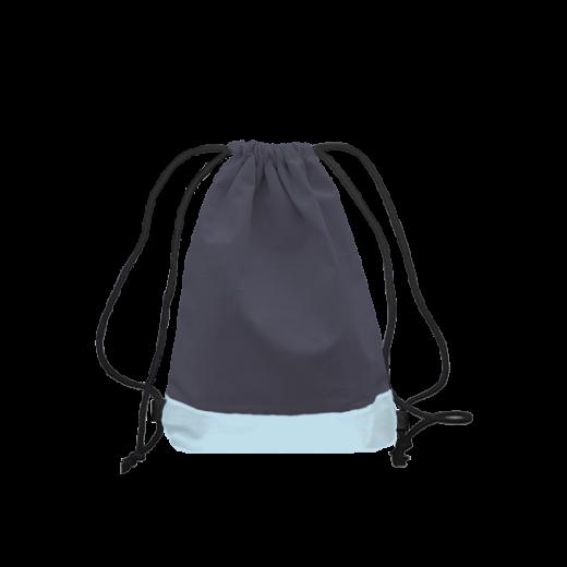 szaro-błękitny worek z troczkami