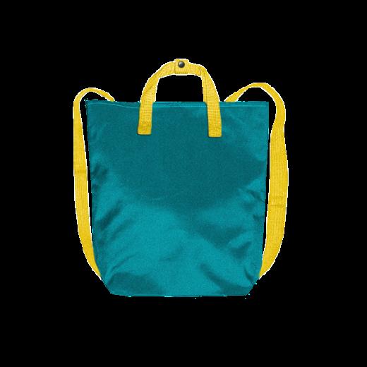 turkusowy plecak minimal z kanarkowymi taśmami