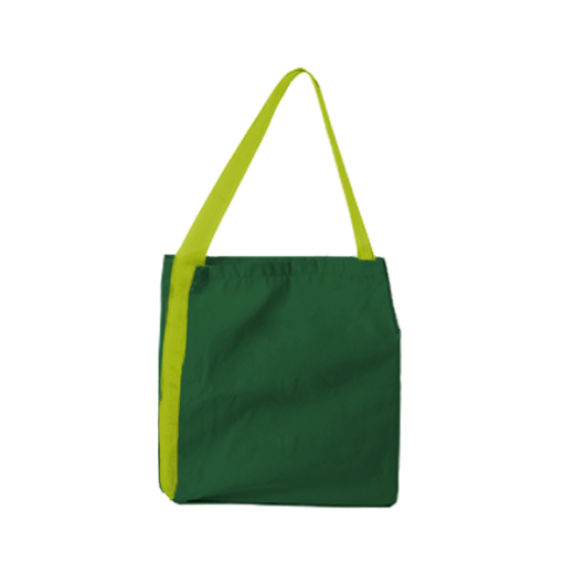 zielona torba z taśmą żółtą