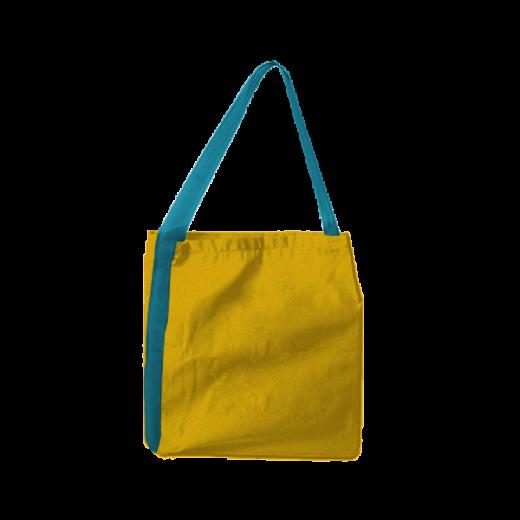 żółta torba z niebieską taśmą